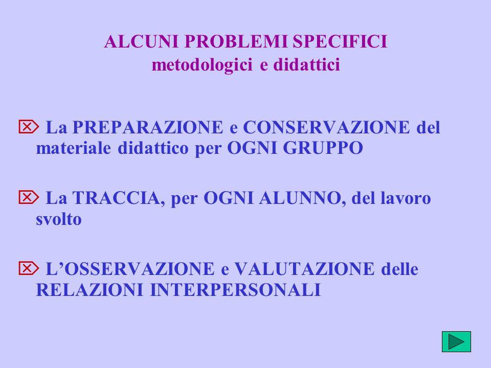 ALCUNI PROBLEMI SPECIFICI metodologici e didattici  La PREPARAZIONE e CONSERVAZIONE del materiale didattico per OGNI GRUPPO  La TRACCIA, per OGNI AL