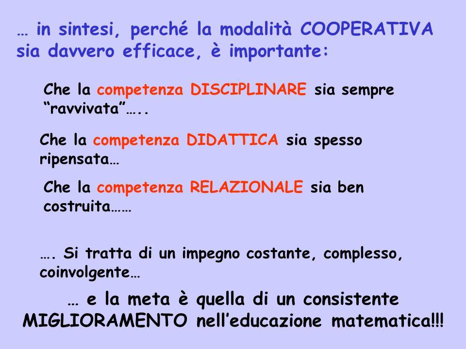 … in sintesi, perché la modalità COOPERATIVA sia davvero efficace, è importante: Che la competenza DISCIPLINARE sia sempre ravvivata …..