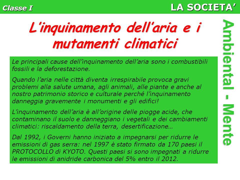 Classe I LA SOCIETA' Ambiental - Mente Le principali cause dell'inquinamento dell'aria sono i combustibili fossili e la deforestazione.