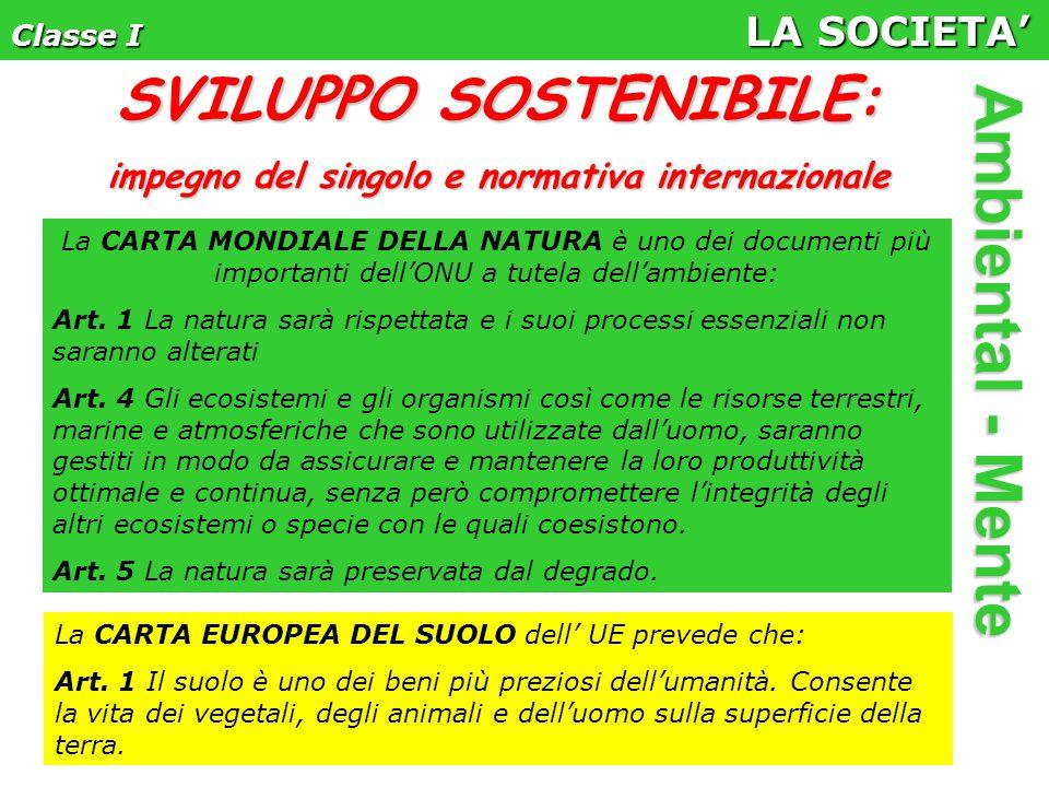 Classe I LA SOCIETA' Ambiental - Mente La CARTA MONDIALE DELLA NATURA è uno dei documenti più importanti dell'ONU a tutela dell'ambiente: Art.