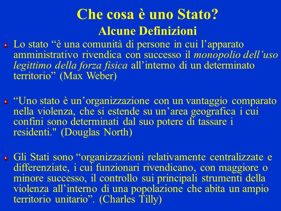 """Che cosa è uno Stato? Alcune Definizioni Lo stato """"è una comunità di persone in cui l'apparato amministrativo rivendica con successo il monopolio dell"""