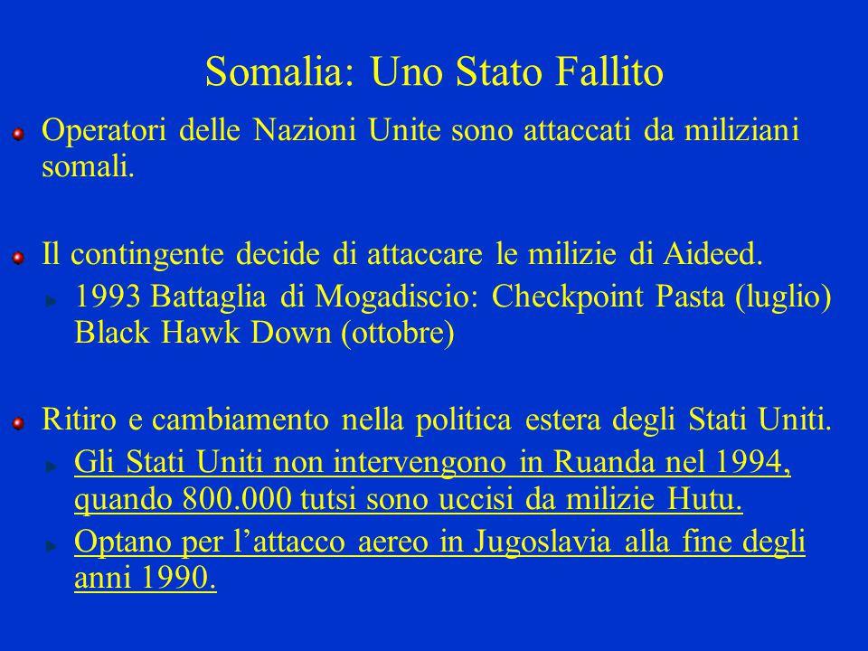 Somalia: Uno Stato Fallito Operatori delle Nazioni Unite sono attaccati da miliziani somali. Il contingente decide di attaccare le milizie di Aideed.