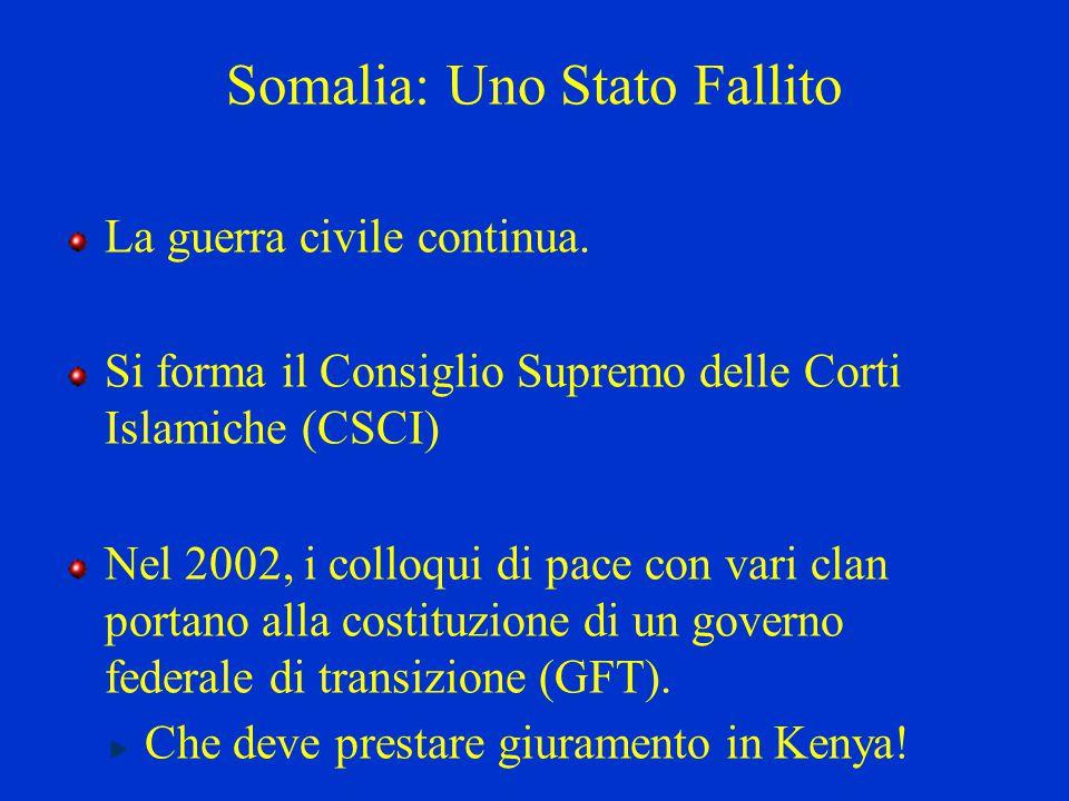 Somalia: Uno Stato Fallito La guerra civile continua. Si forma il Consiglio Supremo delle Corti Islamiche (CSCI) Nel 2002, i colloqui di pace con vari