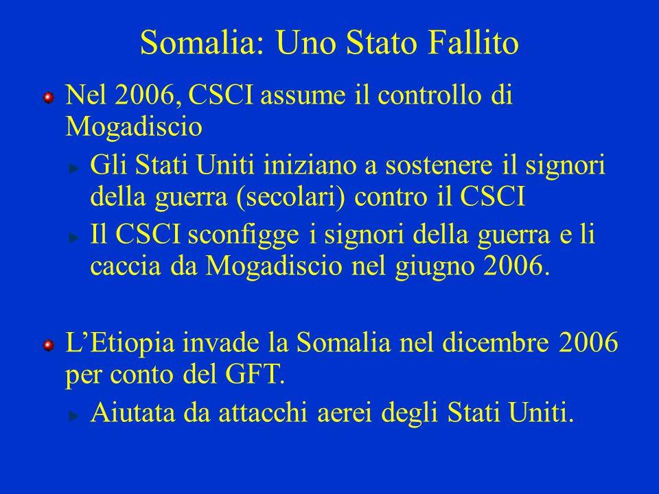 Somalia: Uno Stato Fallito Nel 2006, CSCI assume il controllo di Mogadiscio Gli Stati Uniti iniziano a sostenere il signori della guerra (secolari) co