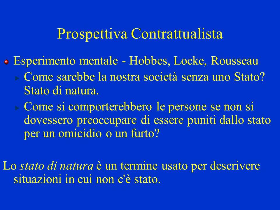 Prospettiva Contrattualista Esperimento mentale - Hobbes, Locke, Rousseau Come sarebbe la nostra società senza uno Stato? Stato di natura. Come si com