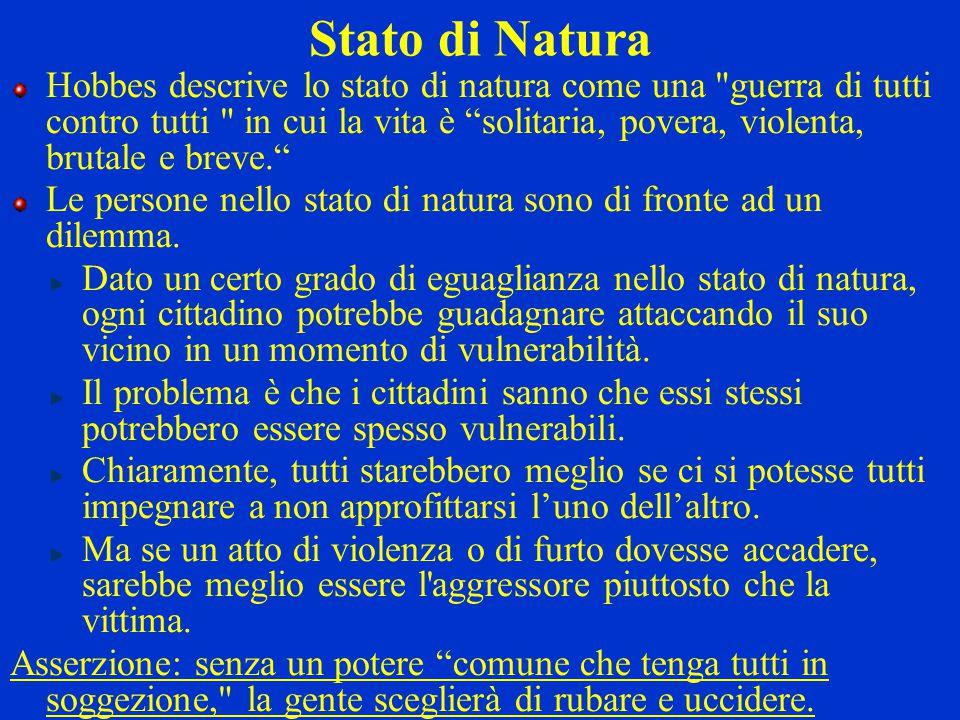 Stato di Natura Hobbes descrive lo stato di natura come una