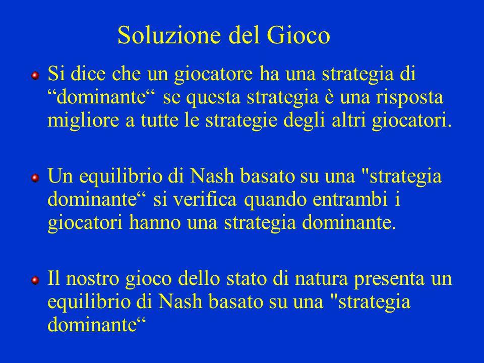 """Soluzione del Gioco Si dice che un giocatore ha una strategia di """"dominante"""" se questa strategia è una risposta migliore a tutte le strategie degli al"""