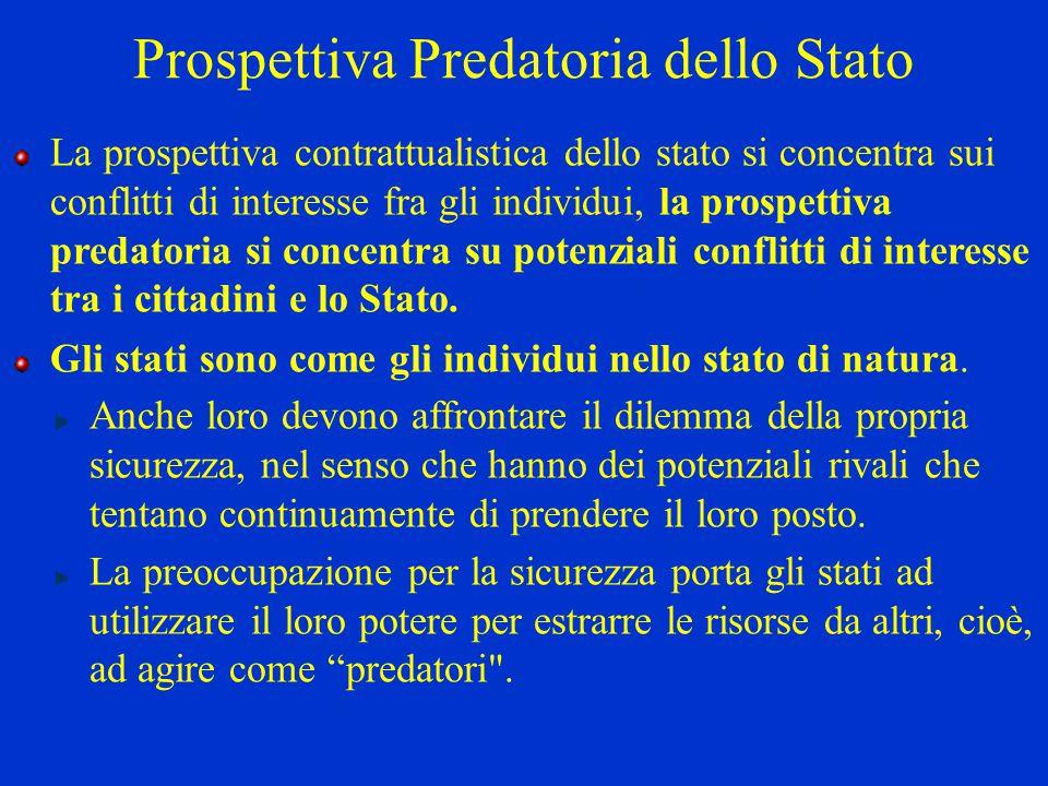La prospettiva contrattualistica dello stato si concentra sui conflitti di interesse fra gli individui, la prospettiva predatoria si concentra su pote