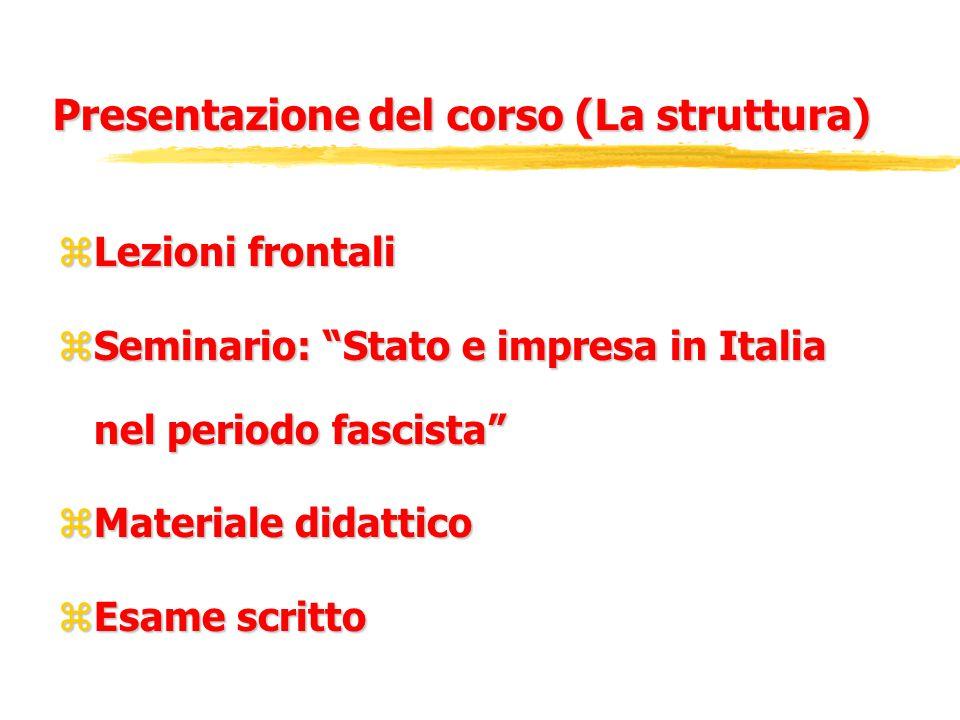 Presentazione del corso (La struttura) zLezioni frontali zSeminario: Stato e impresa in Italia nel periodo fascista zMateriale didattico zEsame scritto