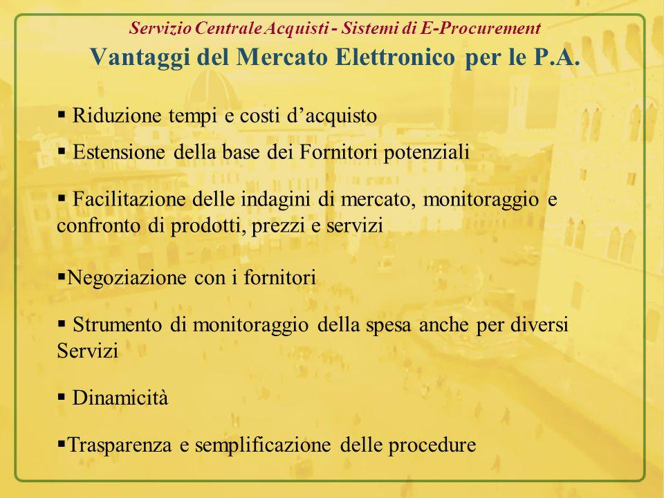 Servizio Centrale Acquisti - Sistemi di E-Procurement Differenze con i Mercati tradizionali Mezzi per lo scambio d'informazioni e per le contrattazioni fra Acquirenti e Venditori.