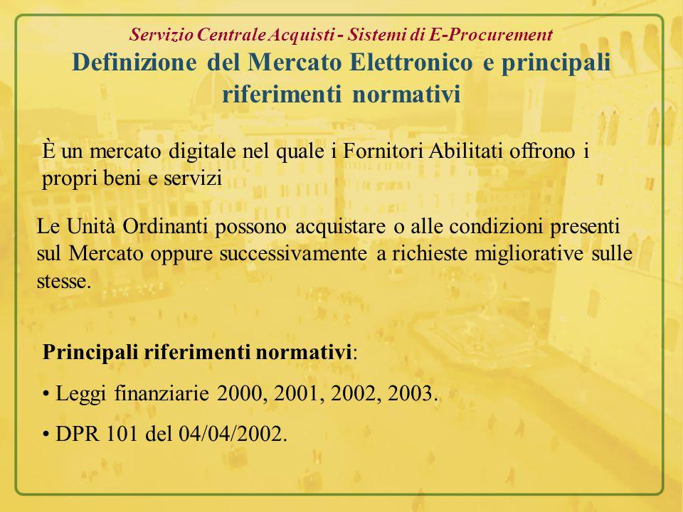 Direzione Risorse Finanziarie Servizio Centrale Acquisti Sistemi di E-Procurement
