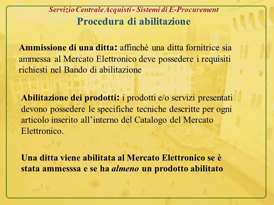 Servizio Centrale Acquisti - Sistemi di E-Procurement Pagina inserimento prodotti