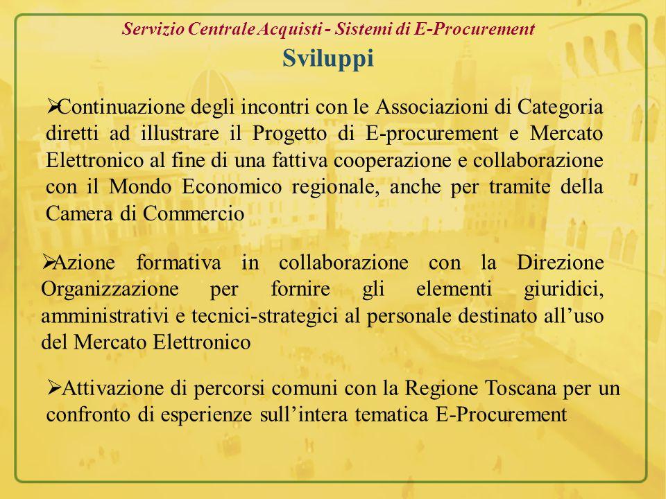 Servizio Centrale Acquisti - Sistemi di E-Procurement Sviluppi  Cooperazione con la soc.