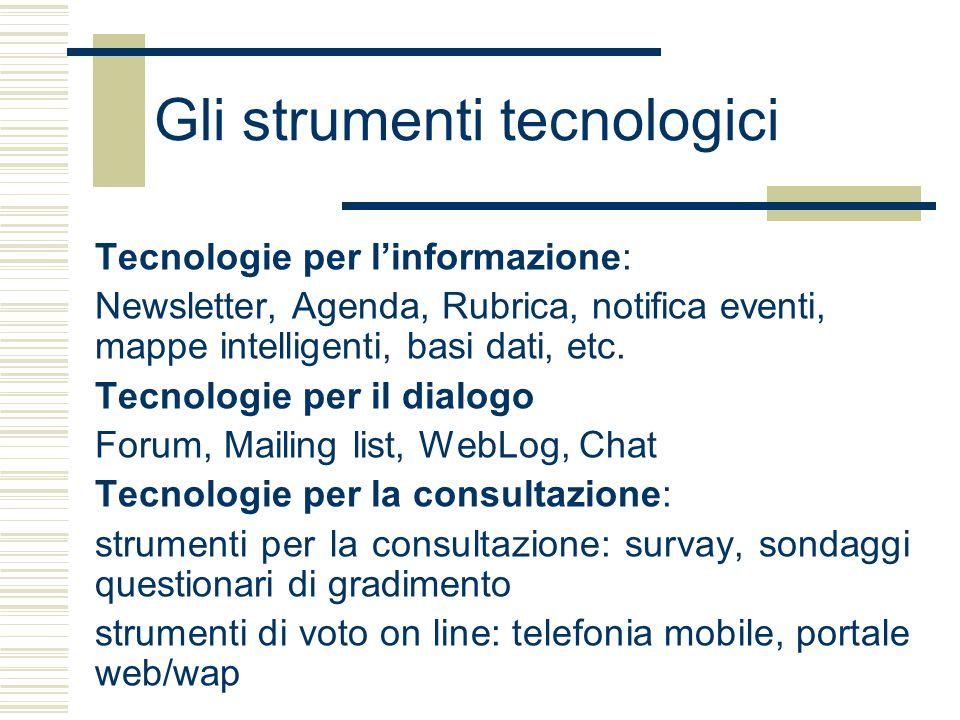 Gli strumenti tecnologici Tecnologie per l'informazione: Newsletter, Agenda, Rubrica, notifica eventi, mappe intelligenti, basi dati, etc.