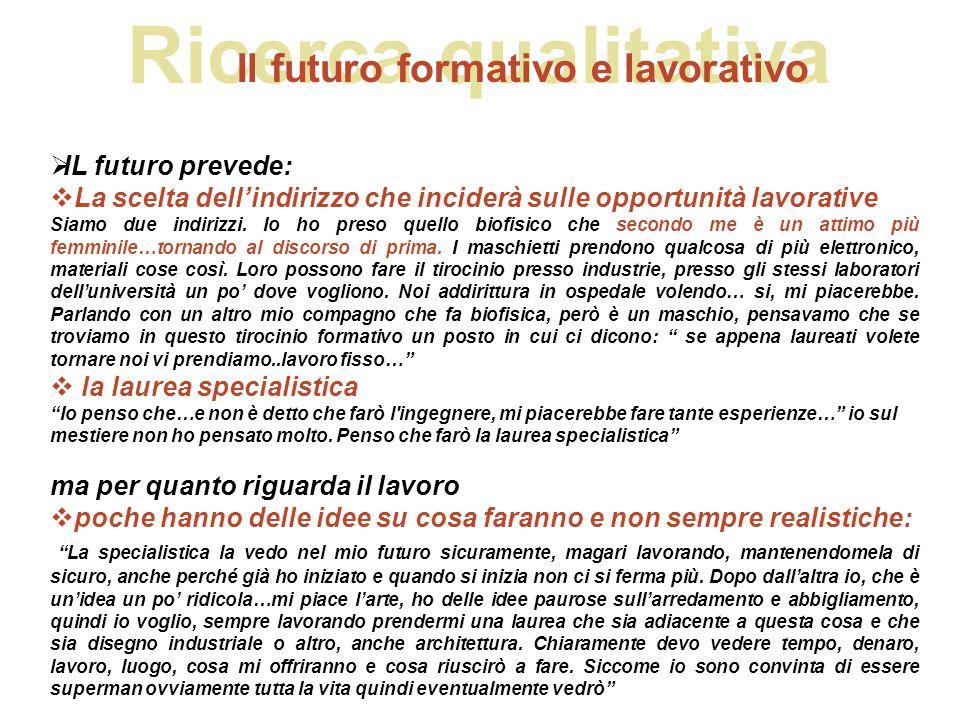 Ricerca qualitativa Il futuro formativo e lavorativo  IL futuro prevede:  La scelta dell'indirizzo che inciderà sulle opportunità lavorative Siamo d