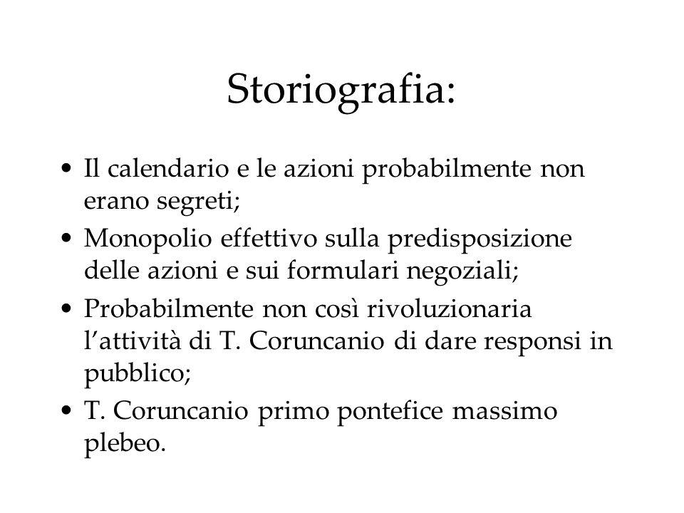Storiografia: Il calendario e le azioni probabilmente non erano segreti; Monopolio effettivo sulla predisposizione delle azioni e sui formulari negozi