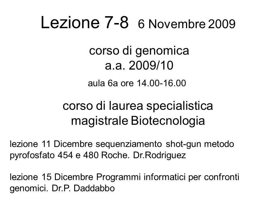 Lezione 7-8 6 Novembre 2009 corso di laurea specialistica magistrale Biotecnologia aula 6a ore 14.00-16.00 corso di genomica a.a.