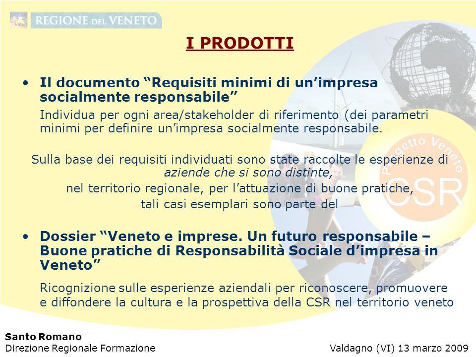 """Santo Romano Direzione Regionale Formazione Valdagno (VI) 13 marzo 2009 I PRODOTTI Il documento """"Requisiti minimi di un'impresa socialmente responsabi"""