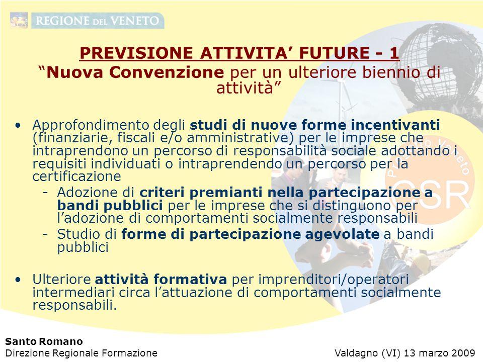 """Santo Romano Direzione Regionale Formazione Valdagno (VI) 13 marzo 2009 PREVISIONE ATTIVITA' FUTURE - 1 """"Nuova Convenzione per un ulteriore biennio di"""