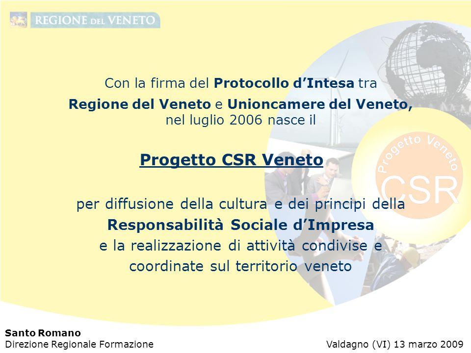 Santo Romano Direzione Regionale Formazione Valdagno (VI) 13 marzo 2009 Con la firma del Protocollo d'Intesa tra Regione del Veneto e Unioncamere del