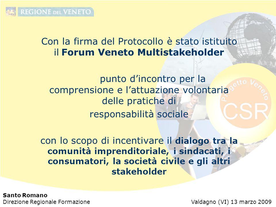 Santo Romano Direzione Regionale Formazione Valdagno (VI) 13 marzo 2009 Con la firma del Protocollo è stato istituito il Forum Veneto Multistakeholder