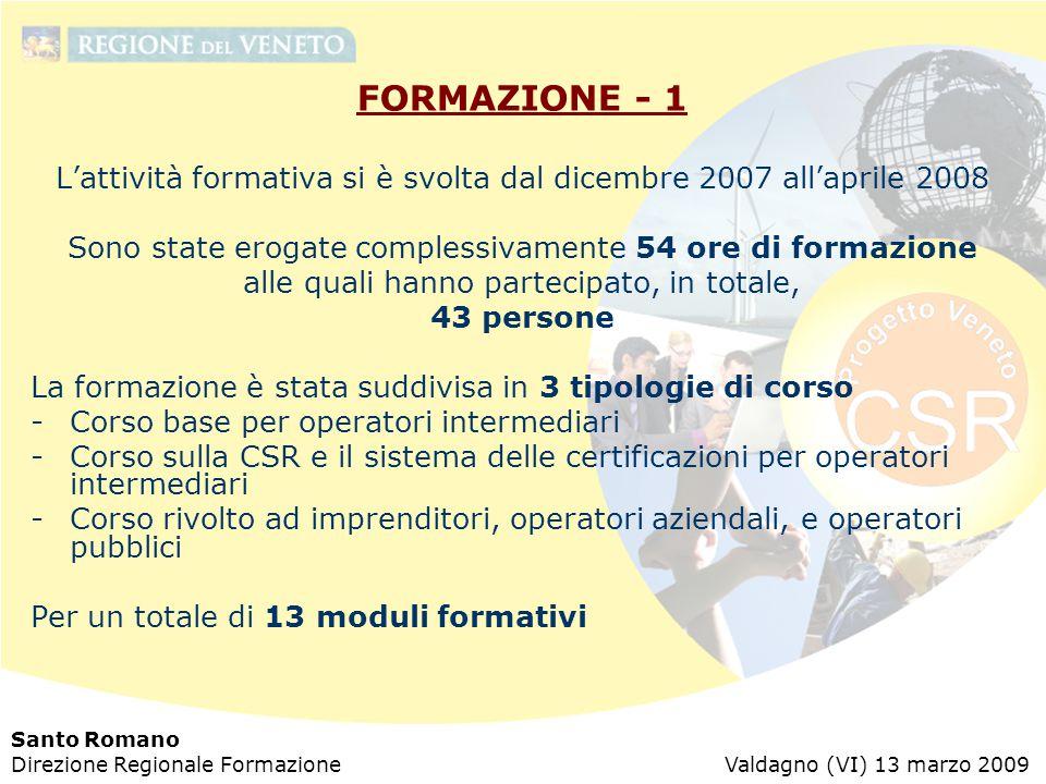 Santo Romano Direzione Regionale Formazione Valdagno (VI) 13 marzo 2009 FORMAZIONE - 1 L'attività formativa si è svolta dal dicembre 2007 all'aprile 2