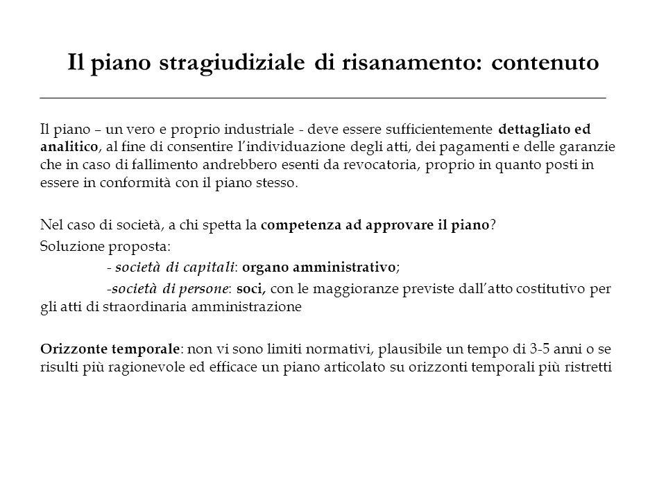 Il piano stragiudiziale di risanamento: contenuto Il piano – un vero e proprio industriale - deve essere sufficientemente dettagliato ed analitico, al