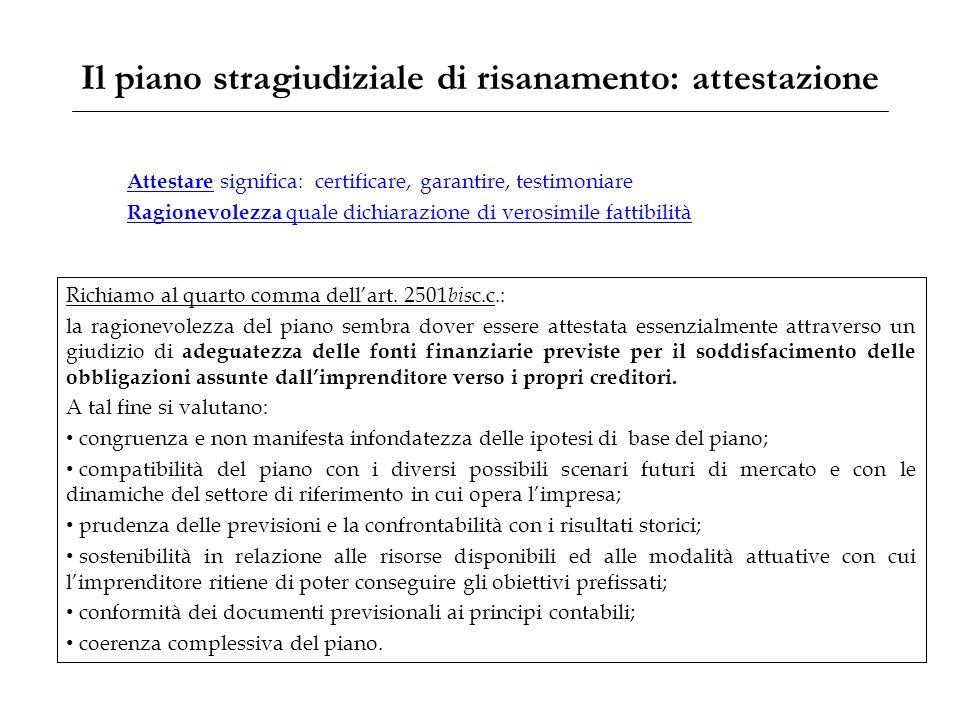 Il piano stragiudiziale di risanamento: attestazione Richiamo al quarto comma dell'art. 2501 bis c.c.: la ragionevolezza del piano sembra dover essere