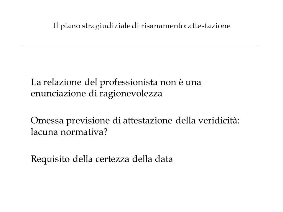 Il piano stragiudiziale di risanamento: attestazione La relazione del professionista non è una enunciazione di ragionevolezza Omessa previsione di att