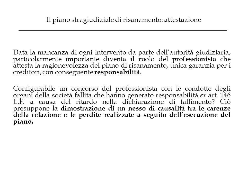 Il piano stragiudiziale di risanamento: attestazione Data la mancanza di ogni intervento da parte dell'autorità giudiziaria, particolarmente important