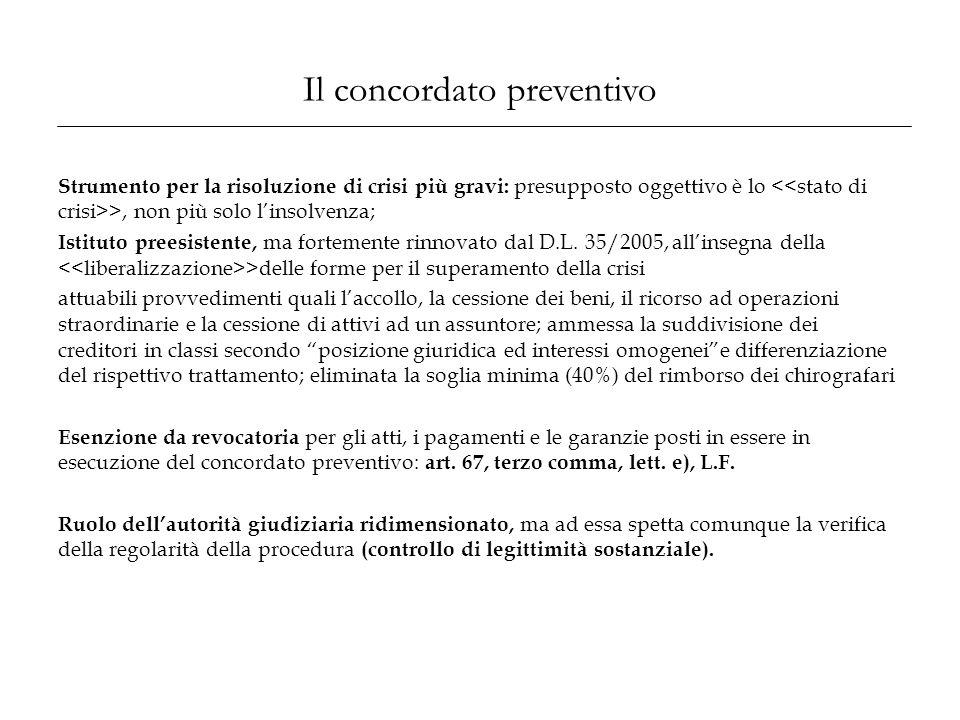 Il concordato preventivo Strumento per la risoluzione di crisi più gravi: presupposto oggettivo è lo >, non più solo l'insolvenza; Istituto preesisten