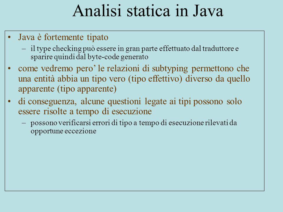 Analisi statica in Java Java è fortemente tipato –il type checking può essere in gran parte effettuato dal traduttore e sparire quindi dal byte-code generato come vedremo pero' le relazioni di subtyping permettono che una entità abbia un tipo vero (tipo effettivo) diverso da quello apparente (tipo apparente) di conseguenza, alcune questioni legate ai tipi possono solo essere risolte a tempo di esecuzione –possono verificarsi errori di tipo a tempo di esecuzione rilevati da opportune eccezione