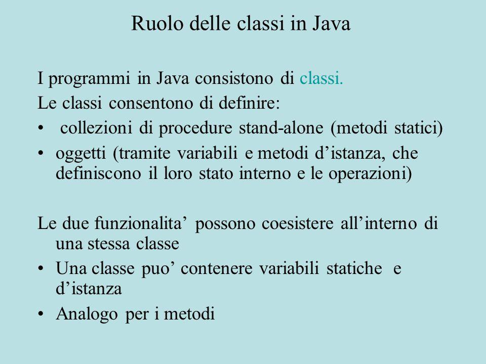 Ruolo delle classi in Java I programmi in Java consistono di classi. Le classi consentono di definire: collezioni di procedure stand-alone (metodi sta