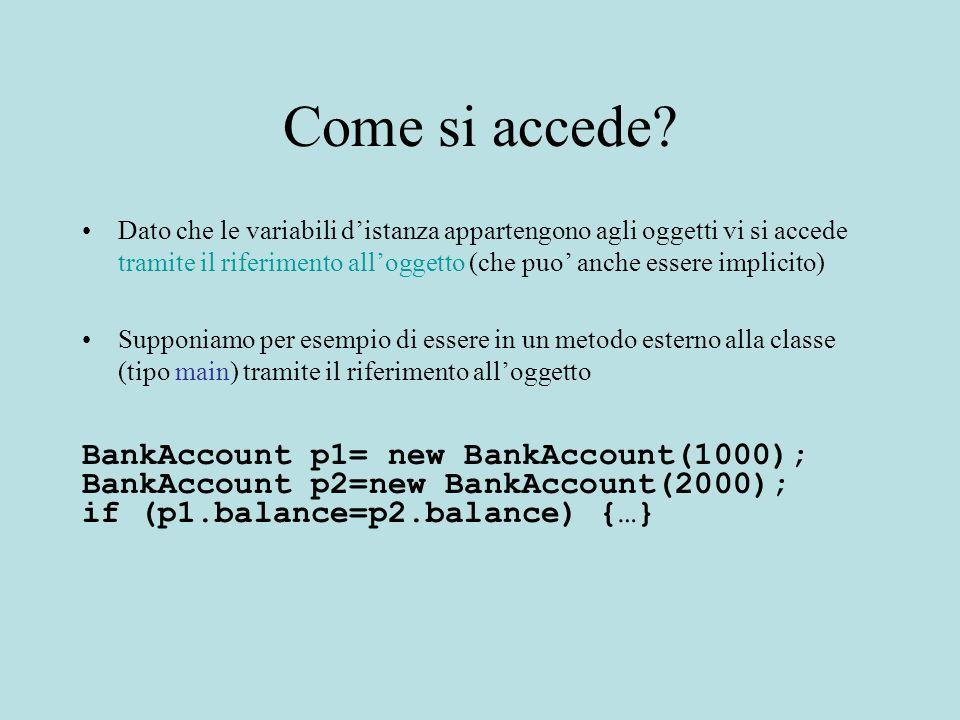 Come si accede? Dato che le variabili d'istanza appartengono agli oggetti vi si accede tramite il riferimento all'oggetto (che puo' anche essere impli
