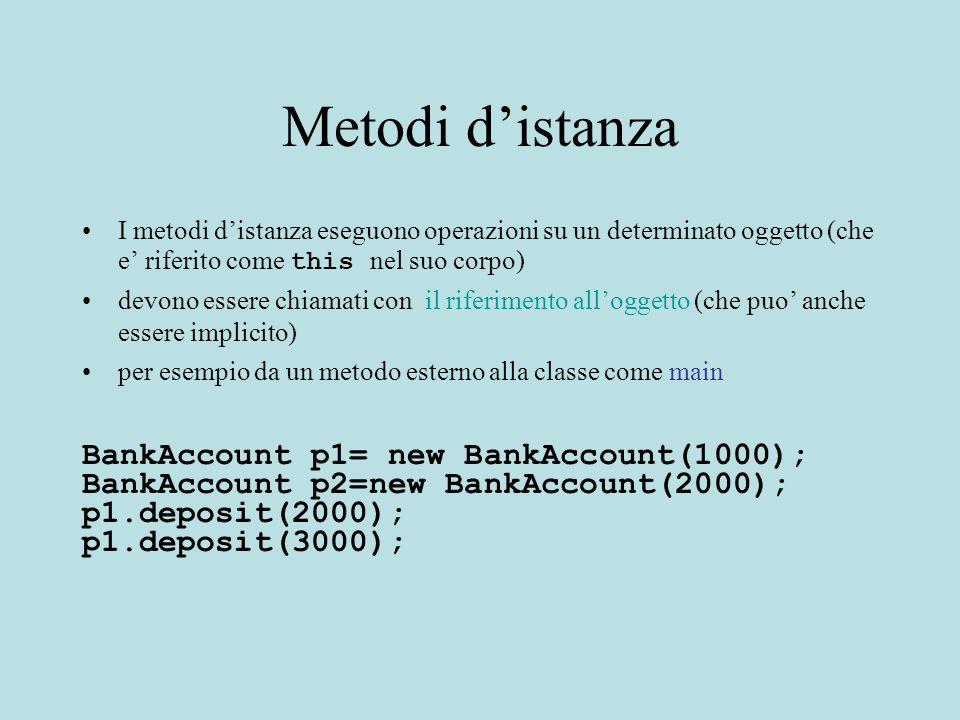 Metodi d'istanza I metodi d'istanza eseguono operazioni su un determinato oggetto (che e' riferito come this nel suo corpo) devono essere chiamati con il riferimento all'oggetto (che puo' anche essere implicito) per esempio da un metodo esterno alla classe come main BankAccount p1= new BankAccount(1000); BankAccount p2=new BankAccount(2000); p1.deposit(2000); p1.deposit(3000);