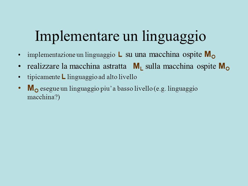 Implementare un linguaggio implementazione un linguaggio L su una macchina ospite M O realizzare la macchina astratta M L sulla macchina ospite M O tipicamente L linguaggio ad alto livello M O esegue un linguaggio piu' a basso livello (e.g.