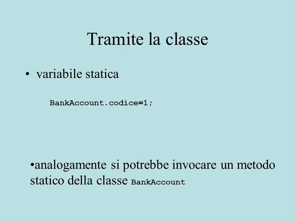 Tramite la classe variabile statica BankAccount.codice=1; analogamente si potrebbe invocare un metodo statico della classe BankAccount