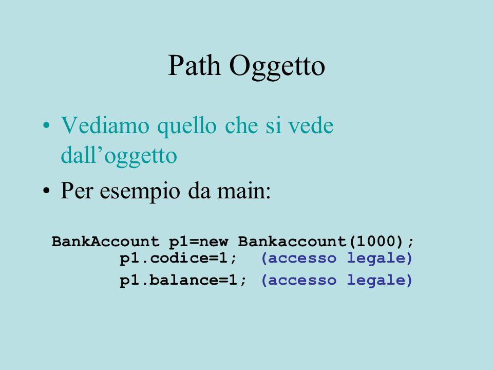 Path Oggetto Vediamo quello che si vede dall'oggetto Per esempio da main: BankAccount p1=new Bankaccount(1000); p1.codice=1; (accesso legale) p1.balan
