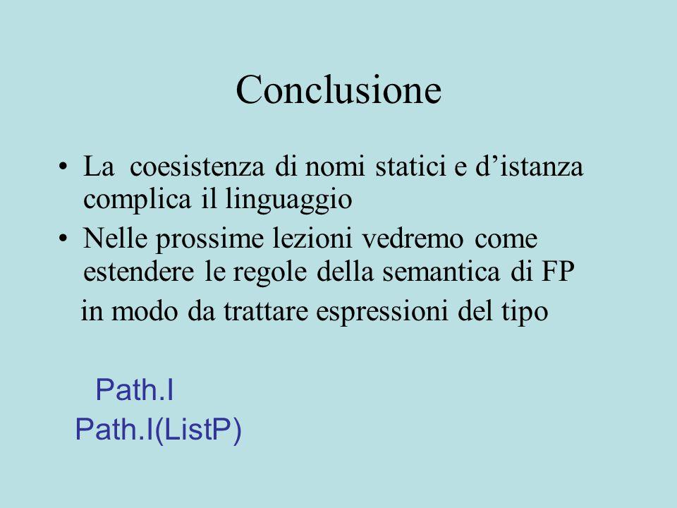 Conclusione La coesistenza di nomi statici e d'istanza complica il linguaggio Nelle prossime lezioni vedremo come estendere le regole della semantica di FP in modo da trattare espressioni del tipo Path.I Path.I(ListP)