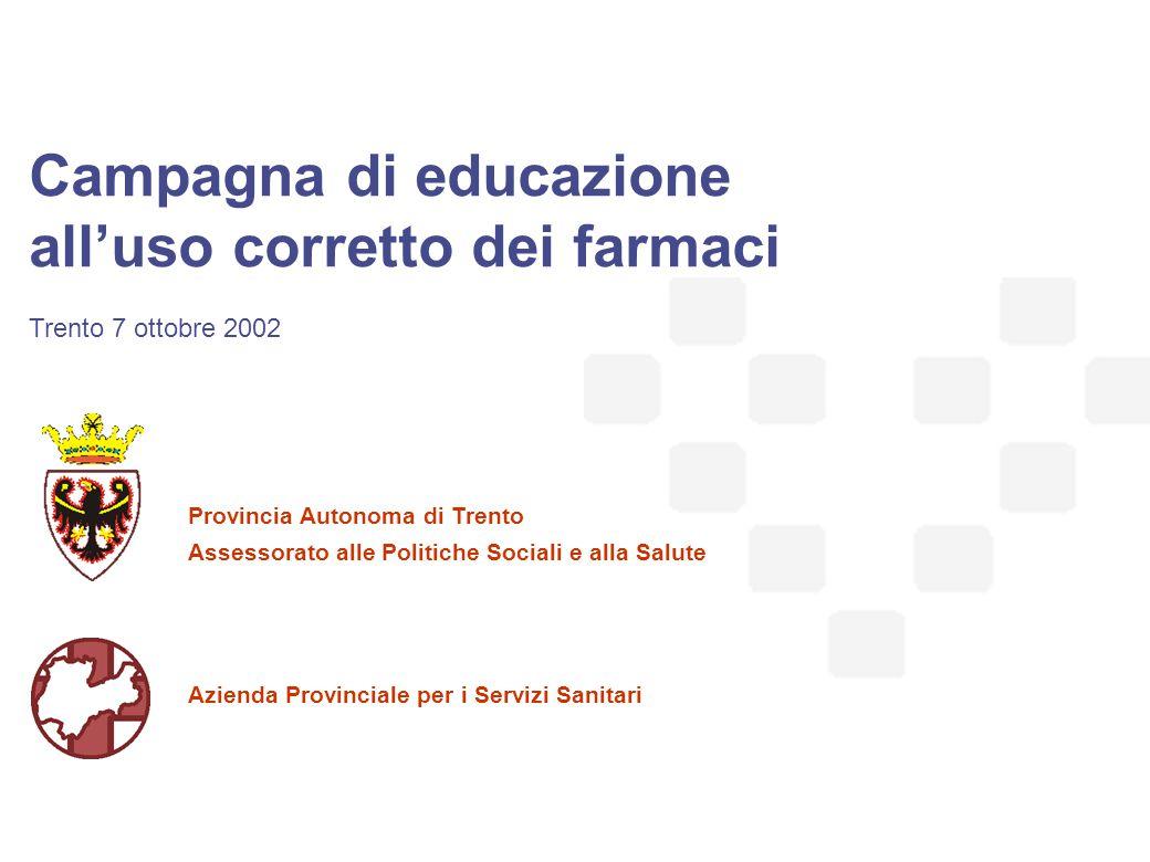 Servizio programmazione e ricerca sanitaria 1 Campagna di educazione all'uso corretto dei farmaci Trento 7 ottobre 2002 Provincia Autonoma di Trento Assessorato alle Politiche Sociali e alla Salute Azienda Provinciale per i Servizi Sanitari