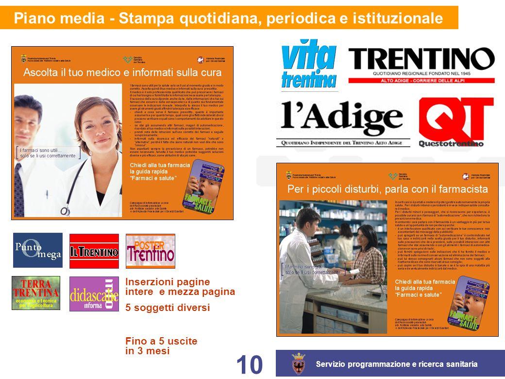 Servizio programmazione e ricerca sanitaria 10 Piano media - Stampa quotidiana, periodica e istituzionale Inserzioni pagine intere e mezza pagina 5 so