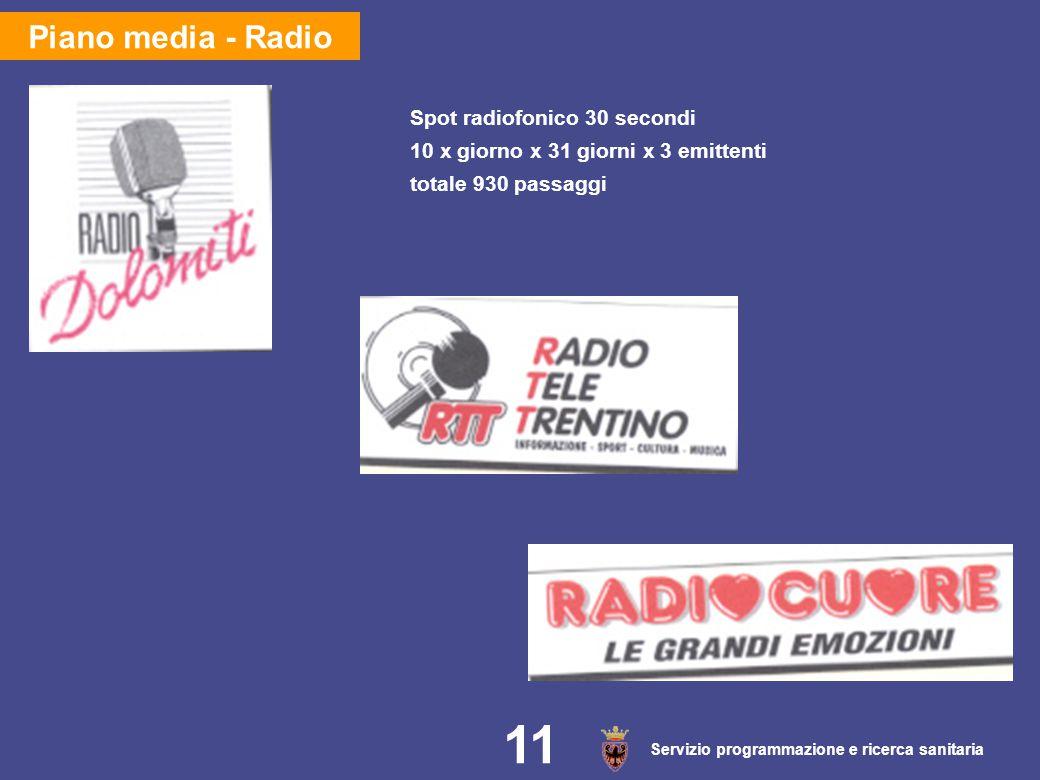 Servizio programmazione e ricerca sanitaria 11 Piano media - Radio Spot radiofonico 30 secondi 10 x giorno x 31 giorni x 3 emittenti totale 930 passag