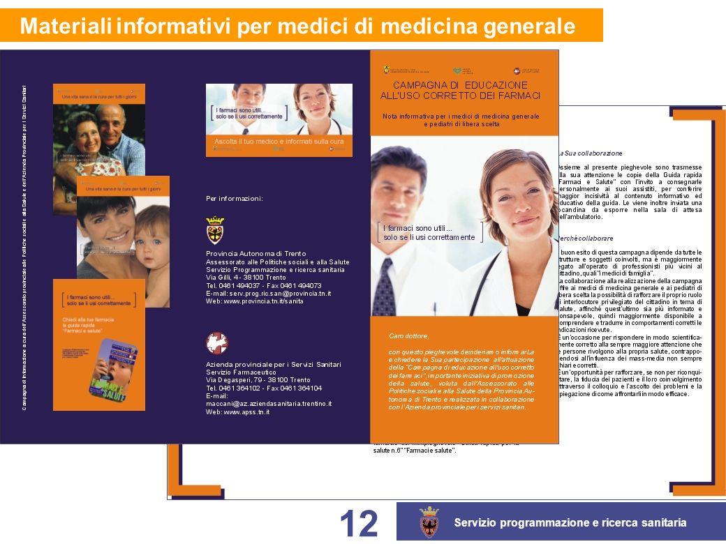 Servizio programmazione e ricerca sanitaria 12 Materiali informativi per medici di medicina generale