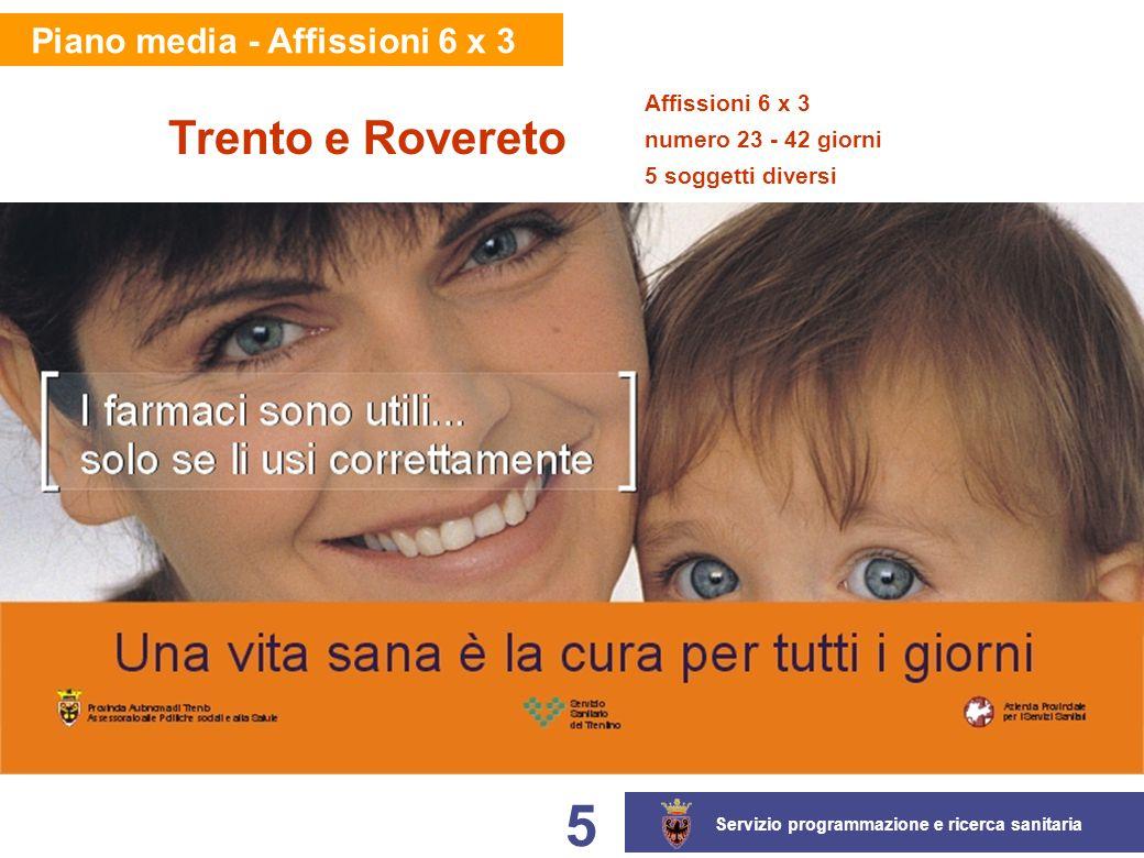 Servizio programmazione e ricerca sanitaria 5 Piano media - Affissioni 6 x 3 Affissioni 6 x 3 numero 23 - 42 giorni 5 soggetti diversi Trento e Rovereto