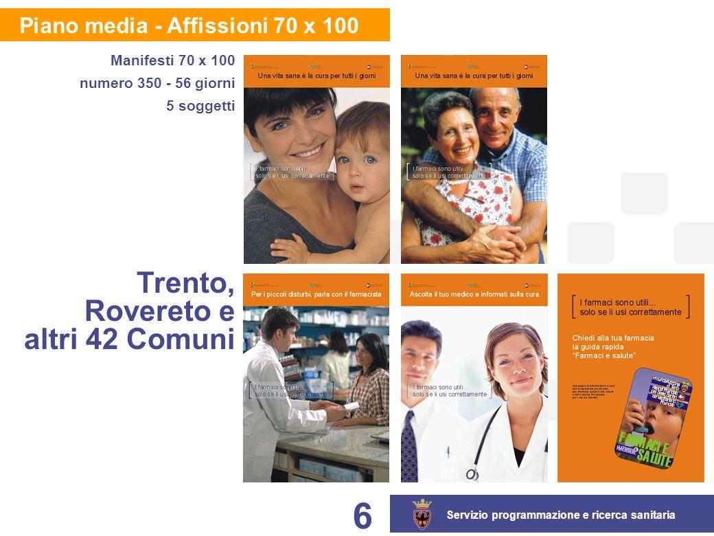 Servizio programmazione e ricerca sanitaria 6 Piano media - Affissioni 70 x 100 Manifesti 70 x 100 numero 350 - 56 giorni 5 soggetti Trento, Rovereto e altri 42 Comuni