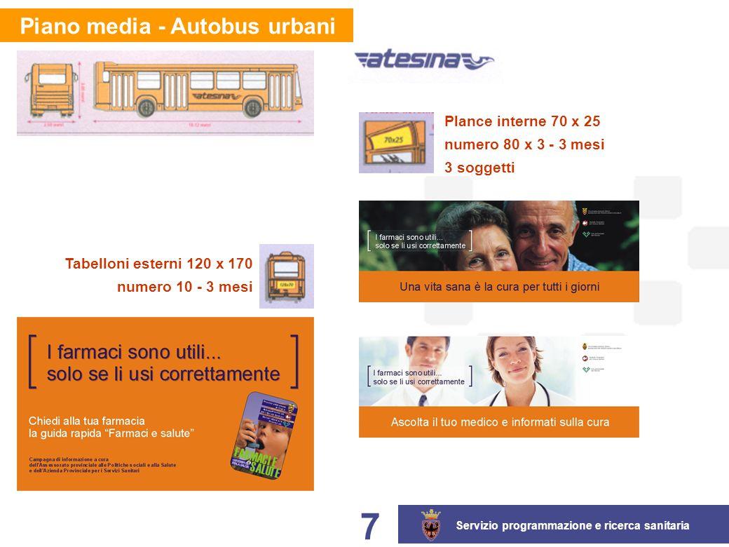 Servizio programmazione e ricerca sanitaria 7 Plance interne 70 x 25 numero 80 x 3 - 3 mesi 3 soggetti Tabelloni esterni 120 x 170 numero 10 - 3 mesi Piano media - Autobus urbani