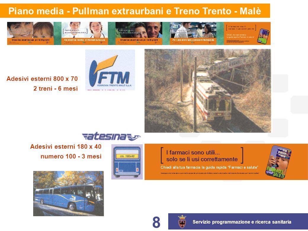 Servizio programmazione e ricerca sanitaria 8 Piano media - Pullman extraurbani e Treno Trento - Malè Adesivi esterni 180 x 40 numero 100 - 3 mesi Adesivi esterni 800 x 70 2 treni - 6 mesi