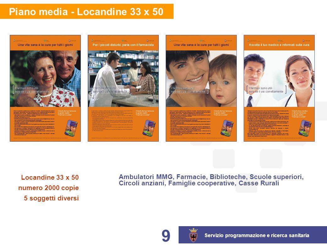 Servizio programmazione e ricerca sanitaria 9 Piano media - Locandine 33 x 50 Locandine 33 x 50 numero 2000 copie 5 soggetti diversi Ambulatori MMG, Farmacie, Biblioteche, Scuole superiori, Circoli anziani, Famiglie cooperative, Casse Rurali
