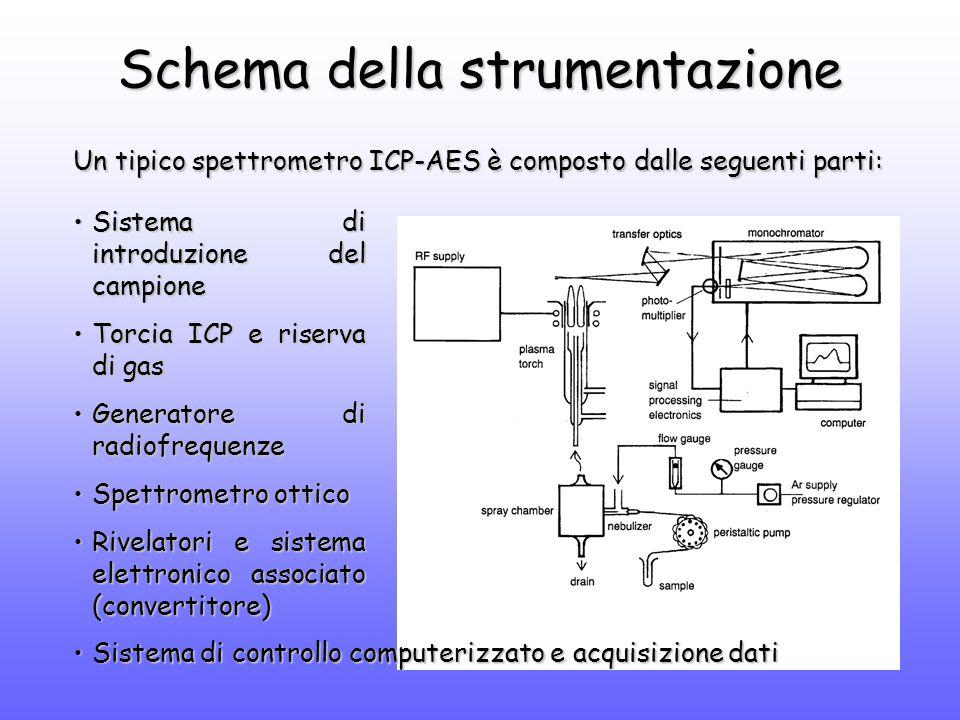 Schema della strumentazione Un tipico spettrometro ICP-AES è composto dalle seguenti parti: Sistema di introduzione del campioneSistema di introduzione del campione Torcia ICP e riserva di gasTorcia ICP e riserva di gas Generatore di radiofrequenzeGeneratore di radiofrequenze Spettrometro otticoSpettrometro ottico Rivelatori e sistema elettronico associato (convertitore)Rivelatori e sistema elettronico associato (convertitore) Sistema di controllo computerizzato e acquisizione datiSistema di controllo computerizzato e acquisizione dati