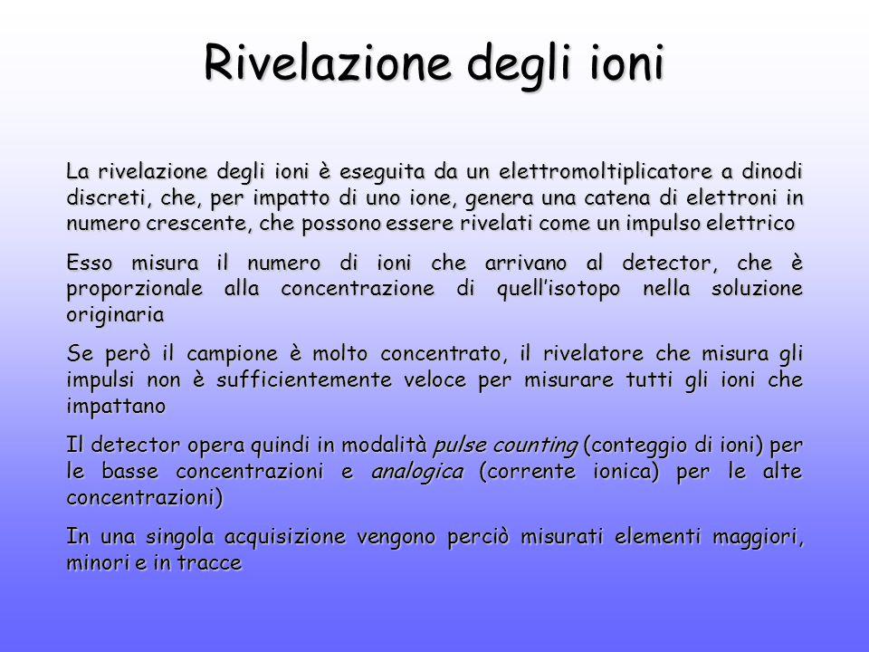 Rivelazione degli ioni La rivelazione degli ioni è eseguita da un elettromoltiplicatore a dinodi discreti, che, per impatto di uno ione, genera una catena di elettroni in numero crescente, che possono essere rivelati come un impulso elettrico Esso misura il numero di ioni che arrivano al detector, che è proporzionale alla concentrazione di quell'isotopo nella soluzione originaria Se però il campione è molto concentrato, il rivelatore che misura gli impulsi non è sufficientemente veloce per misurare tutti gli ioni che impattano Il detector opera quindi in modalità pulse counting (conteggio di ioni) per le basse concentrazioni e analogica (corrente ionica) per le alte concentrazioni) In una singola acquisizione vengono perciò misurati elementi maggiori, minori e in tracce